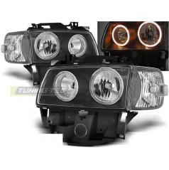 VW T4 08.96-03.03 BUS přední čirá světla angel eyes black (LPVW28)