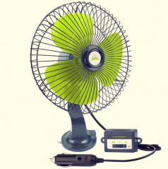 Regulovatelný ventilátor 12V 20 cm do zapalovače s uchycením na sklo