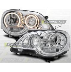 VW Polo 9N3 2005+ Predné číre svetlá Angel Eyes chrome (LPVWE2)