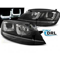 VW Golf 7 11.2012- přední čirá světla U-Type Black With Black Line (LPVWM3)