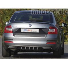 Difuzor zadního nárazníku s převleky - ABS černá metalíza - Škoda Octavia III Limousine / Combi