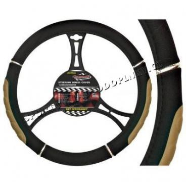 Potah na volant - Speed black/biege,blue,grey,red o průměru 37-39cm