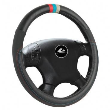 Potah na volant - barva černá s barevným pruhem
