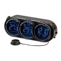 Teploměr do auta vnitřní/venkovní teplota, hodiny, datum, 2 barvy podsvícení