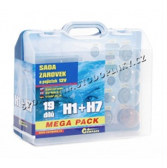 Žárovky náhradní 12V servisní box Mega H1+H7+pojistky