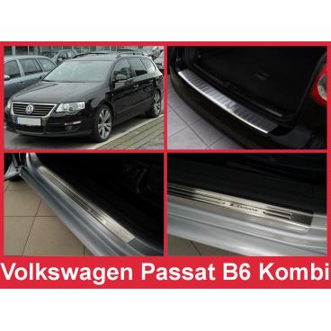 Nerez kryt- sestava-ochrana prahu zadního nárazníku+ochranné lišty prahu dveří VW Passat B6 kombi 2005-10