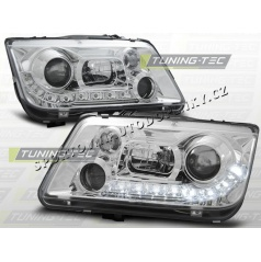 VW BORA 1998-05 PŘEDNÍ ČÍRÁ SVĚTLA DAYLIGHT LED CHROME (LPVWE8)