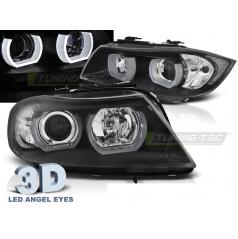 BMW E90/E91 03.2005-08.2008 přední čirá světla 3D U-Type black (LPBMI4)