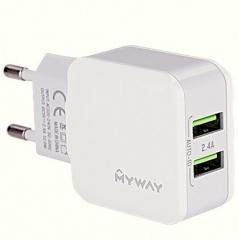 Síťová domácí nabíječka do 220V  se 2 USB 2,4A