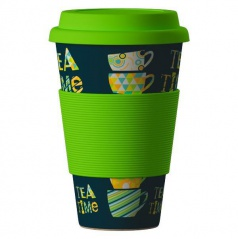 Termohrnek Bamboo Cup - Time for Tea green 400 ml