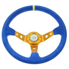 Sportovní volant WRC Rally modrý/zlatý střed 350 mm