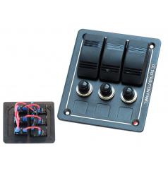 ALU Panel 12V / 24V (3 vodotěsné spínače s certifikátem IP68)