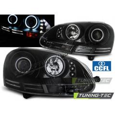 VW Golf 5 10.2003-09 přední čirá světla Angel Eyes CCFL black (LPVWJ1)