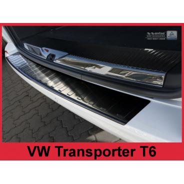 Nerez kryt- černá ochrana prahu zadního nárazníku Volkswagen Transporter T6 Furgon 2015-16
