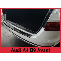 Nerez kryt- černá ochrana prahu zadního nárazníku Audi A4 B9 Avant 2015-16