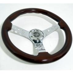 Sportovní kovový volant s imitací dřeva 2 o průměru 350 mm