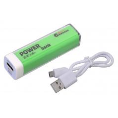 POWER BANK 2600mA + 30cm kabel, zelený