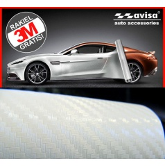 3D karbon fólie bílá perleť 50x38 cm