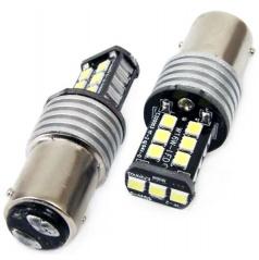 15 SMD LED bílé žárovky jednovláknové Ba15S 21W (P21W) CANBUS - 2 ks