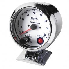 Přídavný  otáčkoměr Race Sport 90 mm 0-8000 RPM - nastavitelný shift, bílý