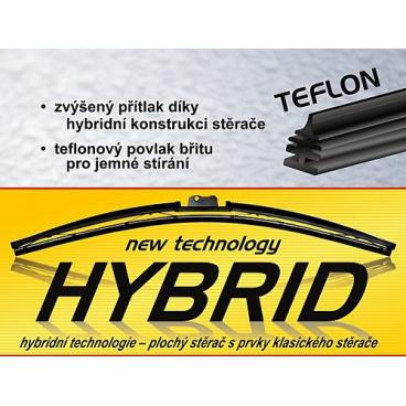 Stěrače HYBRID - teflonový břit a 11 adaptérů 300mm-710mm