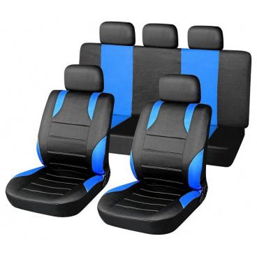 Potahy sedadel sada Sport modré airbag (2x přední sedadlo a zadní sedadla, 5x opěrka hlavy)