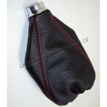 Manžeta řadící páky kožená sporting black/red s alu kroužkem