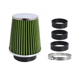 Sportovní vzduchový filtr kuželový zelený/chrom (úzké tělo)