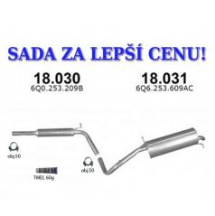 Montážní sada/komplet výfuk Škoda Fabia 1.0i / 1.4i / 1.4i-16V, Hatchback