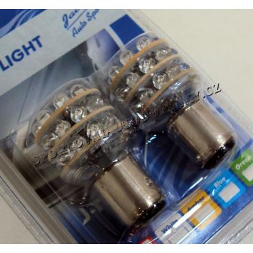 24 LED žárovky BAY 15D 2-vláknové do zadních světel červené 2 ks