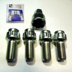 LOK NOX pojistné šrouby pro vozy ŠKODA a koncernové vozy VW GROUP M14x1,5 s uchycením do koule