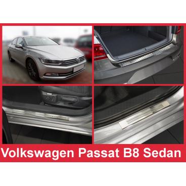 Nerez kryt- sestava-ochrana prahu zadního nárazníku+ochranné lišty prahu dveří VW Passat B8 sedan 2014-16