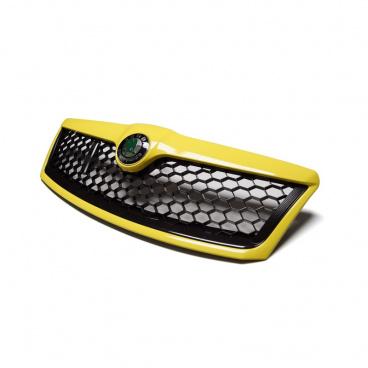 Kompletná maska chladiča RS honeycomb design Sprint Yellow (F1F) vrátane originálneho znaku - Škoda Octavia II Facelift 2009-13