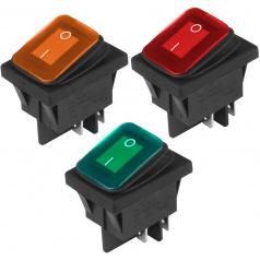 Vypínač 12V/24V, AC 125V-250V s podsvícením (3 barvy)