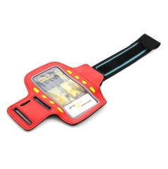 Elegantní reflexní držák smartphonu na paži 8 LED červený