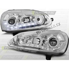 VW GOLF V 2003-09 PŘEDNÍ ČÍRÁ SVĚTLA DAYLIGHT LED CHROME (LPVW98)