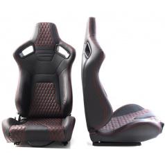 Sportovní polohovatelná sedačka imitace kůže A1 Racing Racer černá