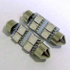 4 LED žárovky sulfit červené 39 mm s odporem (CANBUS) - 2 ks