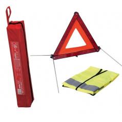 Trojúhelník výstražný E4 + výstražná vesta XL + obal