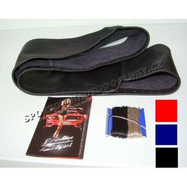 Potah na volant kožený (červený, černý, modrý)