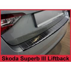 Nerez kryt- černá ochrana prahu zadního nárazníku Škoda Superb III liftback 2015-16