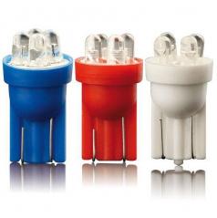 Žárovka parkovací T10 4 LED bílá, modrá, červená 2 ks