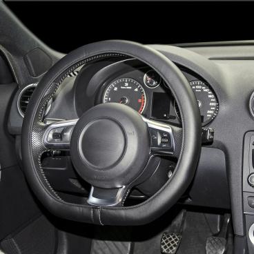Potah volantu v imitaci černé kůže 37-38 cm