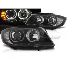 BMW E90 / E91 03.2005-2011 přední čirá světla Angel Eyes LED black indicator (LPBMJ1)