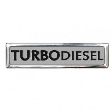 Plastický znak turbodiesel alu provedení s podlepením 70 x 12 mm