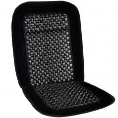 Potah sedadla korálky v látkovém rámu - mikrosemiš černý
