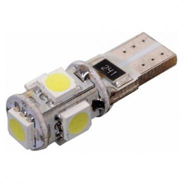 Žárovka 5 velkých LED T10 CANBUS s odporem bílá 1 ks