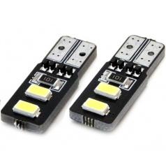 Žiarovky 4 SMD 2835 LED T10 (W5W) 12V biela CAN-BUS krátka
