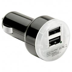 Led USB nabíječka černá 12-24V se 2 vstupy (1,01 do 2,1 A)