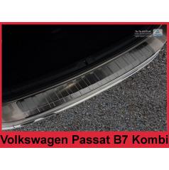 Nerez kryt- černá ochrana prahu zadního nárazníku Volkswagen Passat B7 kombi 2011-14